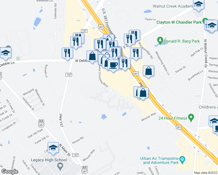 map of restaurants, bars, coffee shops, grocery stores, and more near 1781 U.S. 287 Business in Mansfield