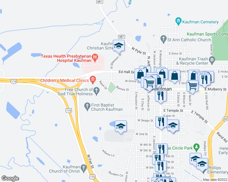 map of restaurants, bars, coffee shops, grocery stores, and more near 303 Barnes Street in Kaufman