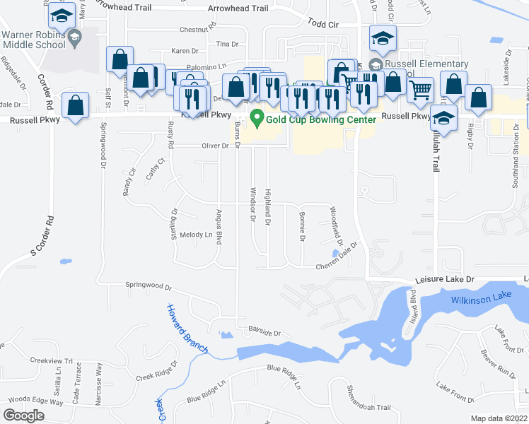 map of restaurants, bars, coffee shops, grocery stores, and more near 202 Highland Drive in Warner Robins