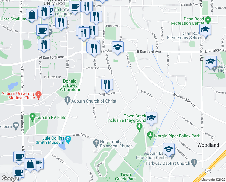 map of restaurants, bars, coffee shops, grocery stores, and more near 265 Virginia Avenue in Auburn