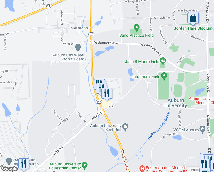 map of restaurants, bars, coffee shops, grocery stores, and more near 626 Shug Jordan Parkway in Auburn