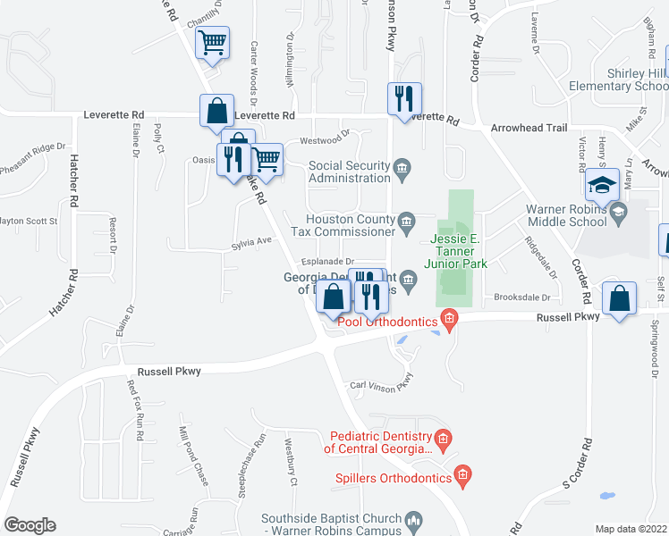 map of restaurants, bars, coffee shops, grocery stores, and more near 200 Engracia Drive in Warner Robins