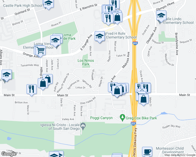 map of restaurants, bars, coffee shops, grocery stores, and more near 1640 Maple Drive in Chula Vista