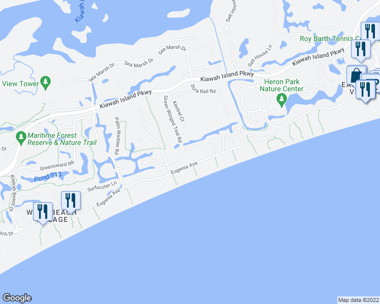 map of restaurants, bars, coffee shops, grocery stores, and more near 418 Amaranth Road in Johns Island
