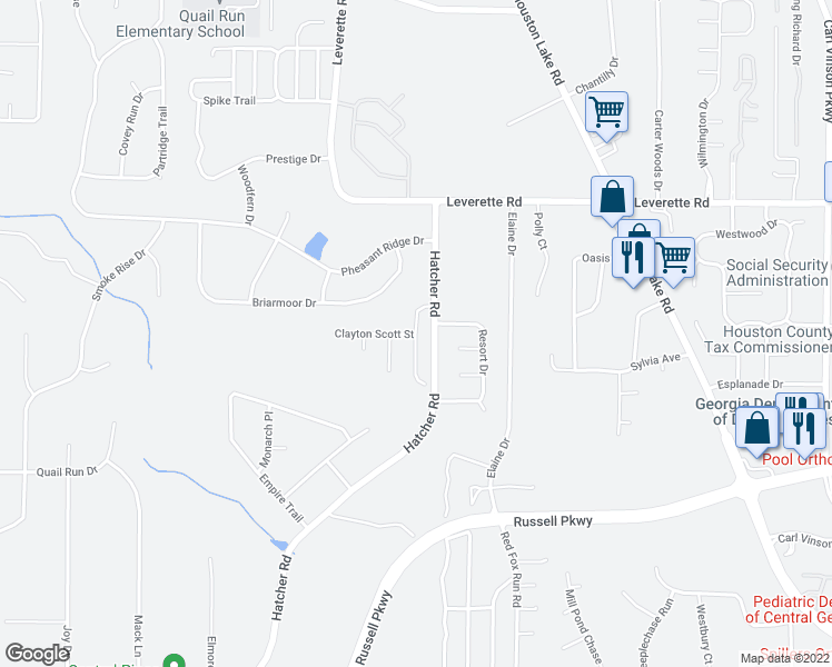 map of restaurants, bars, coffee shops, grocery stores, and more near Sidney David Street in Warner Robins