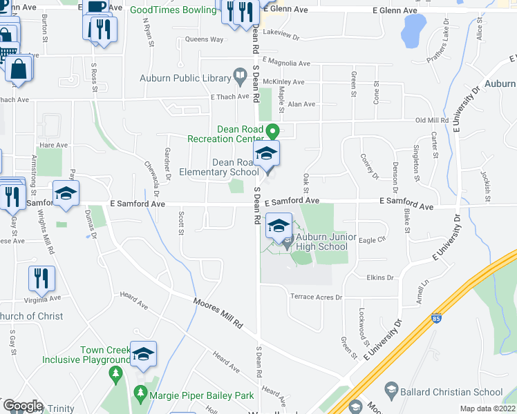 map of restaurants, bars, coffee shops, grocery stores, and more near 410 South Dean Road in Auburn