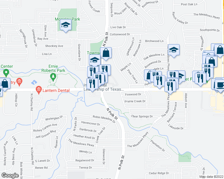 map of restaurants, bars, coffee shops, grocery stores, and more near 825 East Pleasant Run Road in DeSoto