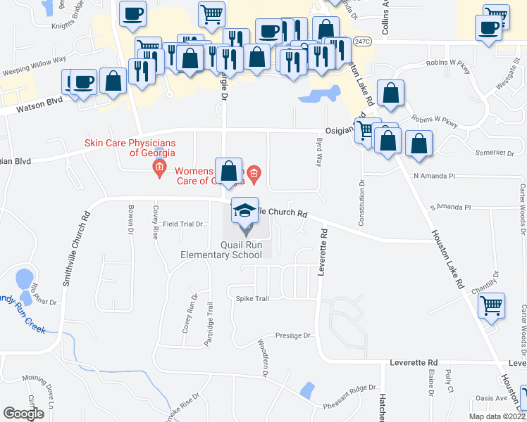 map of restaurants, bars, coffee shops, grocery stores, and more near 263-269 Smithville Church Road in Warner Robins