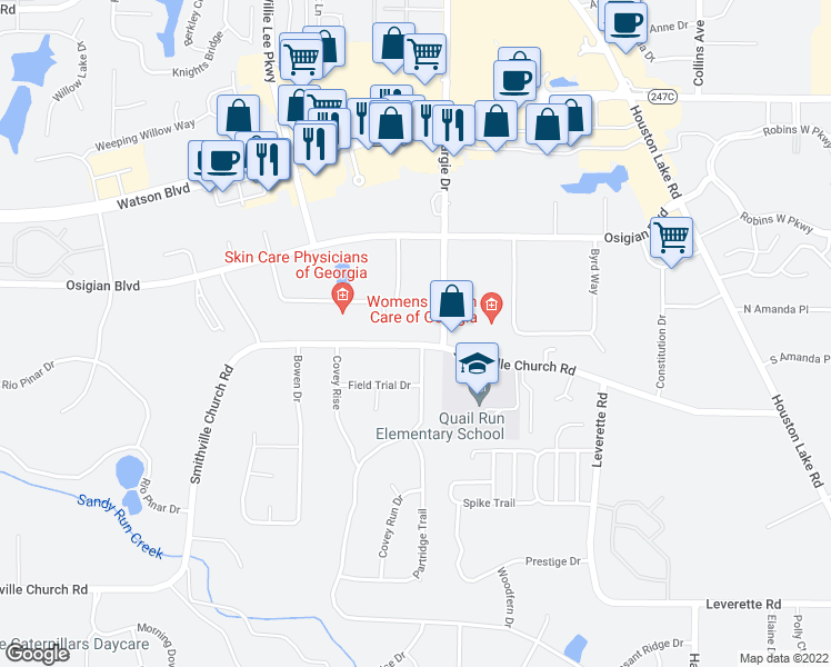 map of restaurants, bars, coffee shops, grocery stores, and more near 305 Smithville Church Road in Warner Robins