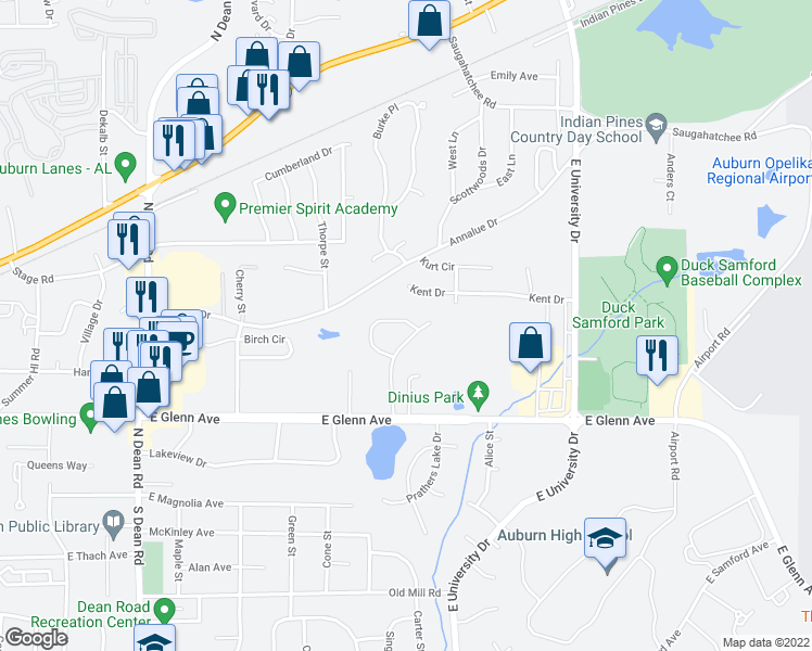 map of restaurants, bars, coffee shops, grocery stores, and more near 380 Butternut Drive in Auburn