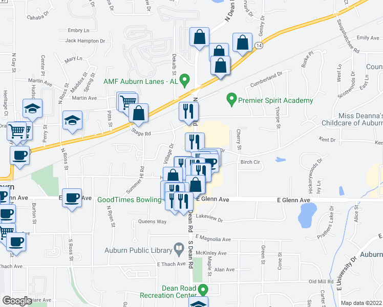 map of restaurants, bars, coffee shops, grocery stores, and more near 403 North Dean Road in Auburn