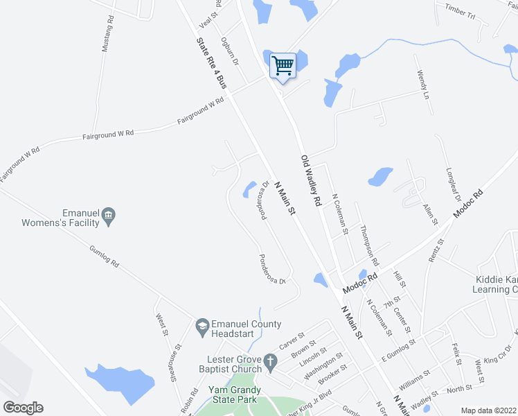 map of restaurants, bars, coffee shops, grocery stores, and more near Ponderosa Drive in Swainsboro
