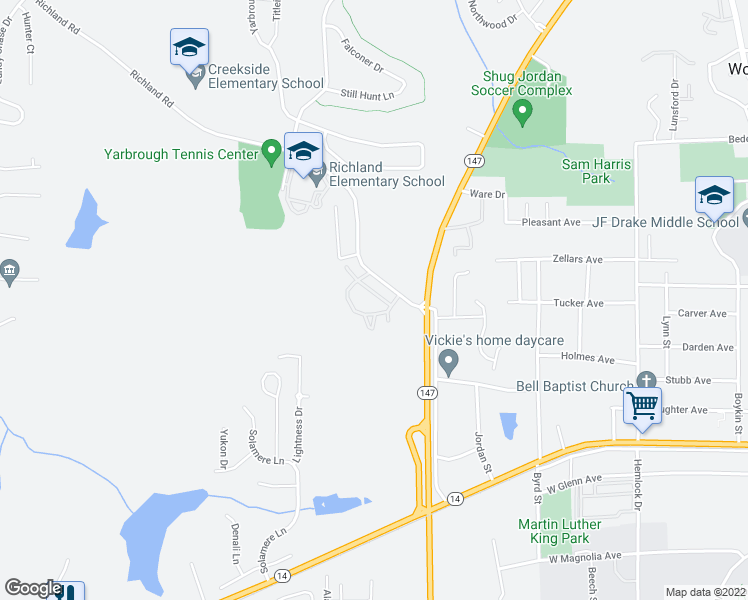 map of restaurants, bars, coffee shops, grocery stores, and more near 1449 Richland Road in Auburn
