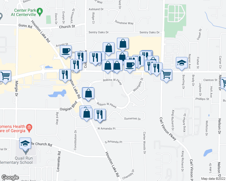 map of restaurants, bars, coffee shops, grocery stores, and more near 100 Robins West Parkway in Warner Robins