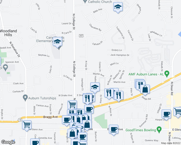 map of restaurants, bars, coffee shops, grocery stores, and more near 221 Martin Avenue in Auburn