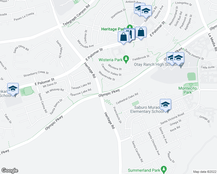 map of restaurants, bars, coffee shops, grocery stores, and more near 1489 Hay-Fork Place in Chula Vista