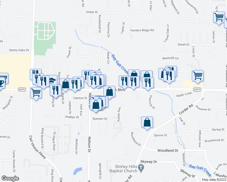 map of restaurants, bars, coffee shops, grocery stores, and more near 2191 Watson Boulevard in Warner Robins