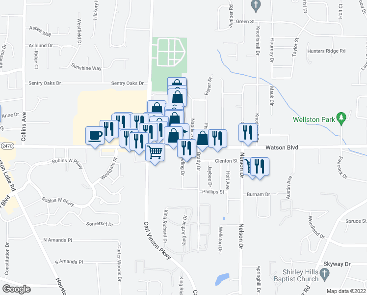 map of restaurants, bars, coffee shops, grocery stores, and more near 2600 Watson Boulevard in Warner Robins