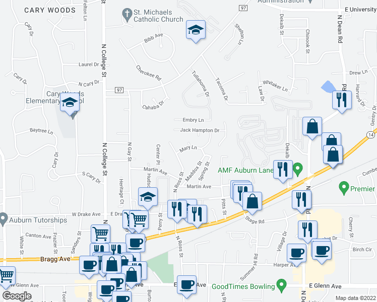 map of restaurants, bars, coffee shops, grocery stores, and more near 418 Mary Lane in Auburn