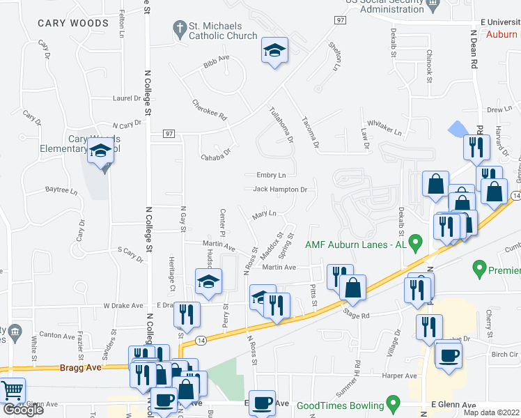 map of restaurants, bars, coffee shops, grocery stores, and more near 671 Cauthen Court in Auburn