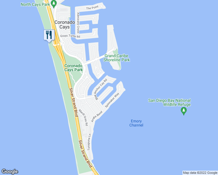 map of restaurants, bars, coffee shops, grocery stores, and more near 4 Buccaneer Way in Coronado