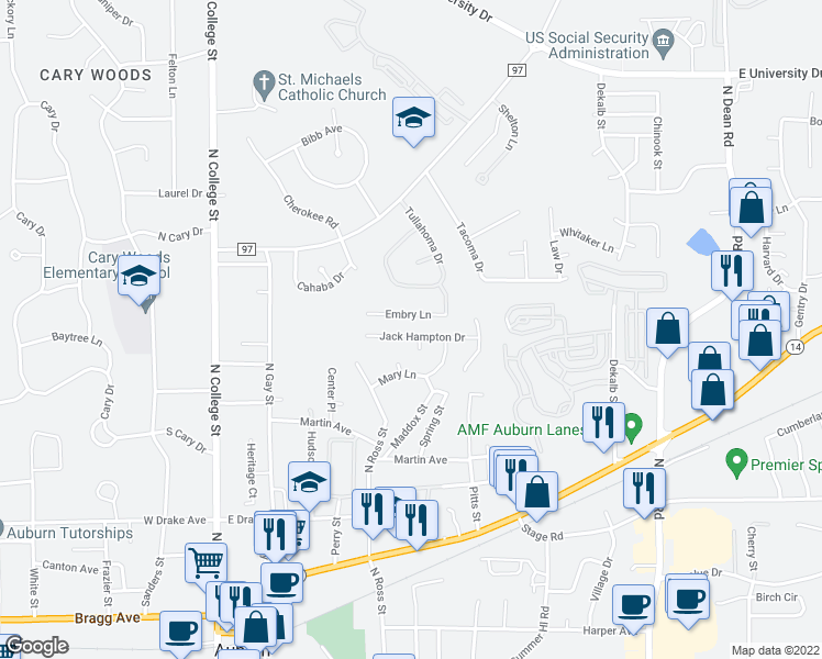map of restaurants, bars, coffee shops, grocery stores, and more near 365 Jack Hampton Drive in Auburn