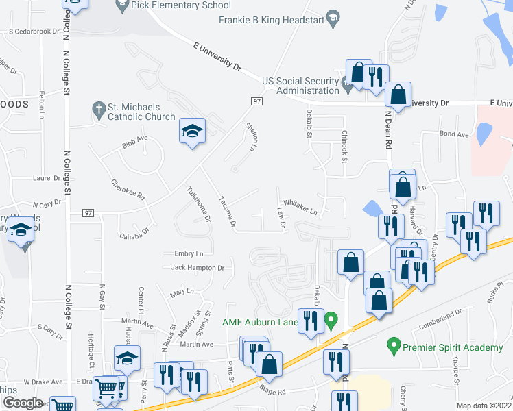 map of restaurants, bars, coffee shops, grocery stores, and more near 893 Tulane Road in Auburn