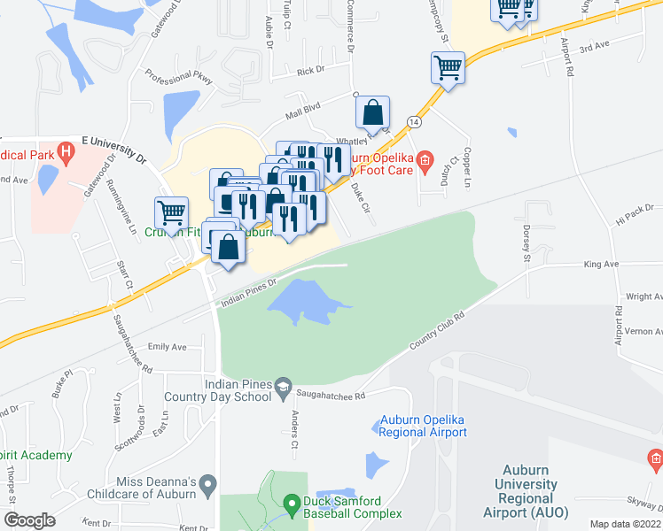 map of restaurants, bars, coffee shops, grocery stores, and more near Country Club Dr in Auburn