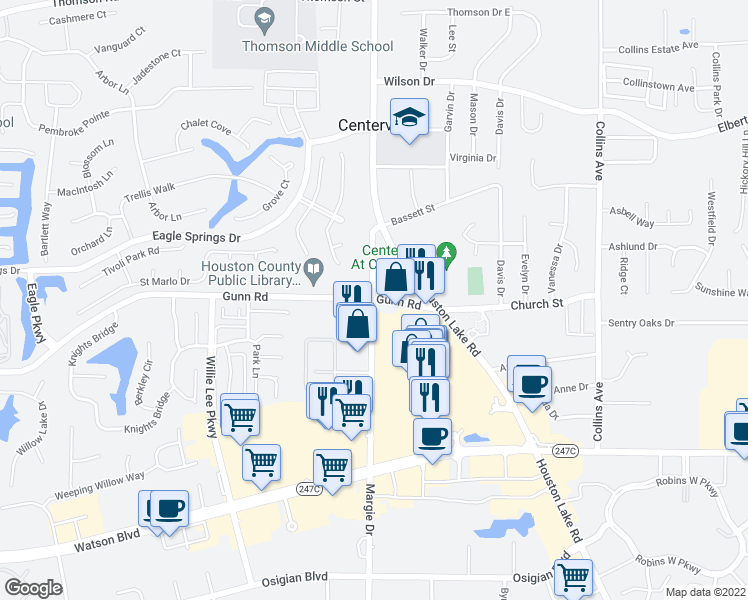 map of restaurants, bars, coffee shops, grocery stores, and more near 101 Margie Drive in Warner Robins