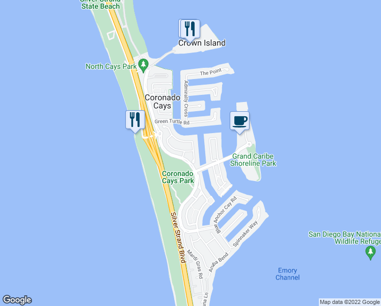 map of restaurants, bars, coffee shops, grocery stores, and more near 8 Catspaw Cape in Coronado