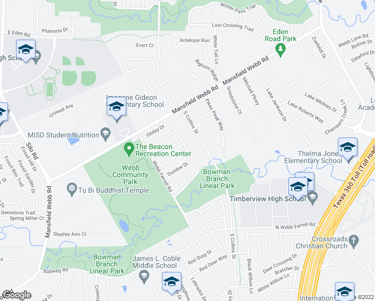map of restaurants, bars, coffee shops, grocery stores, and more near Baybridge Drive in Arlington