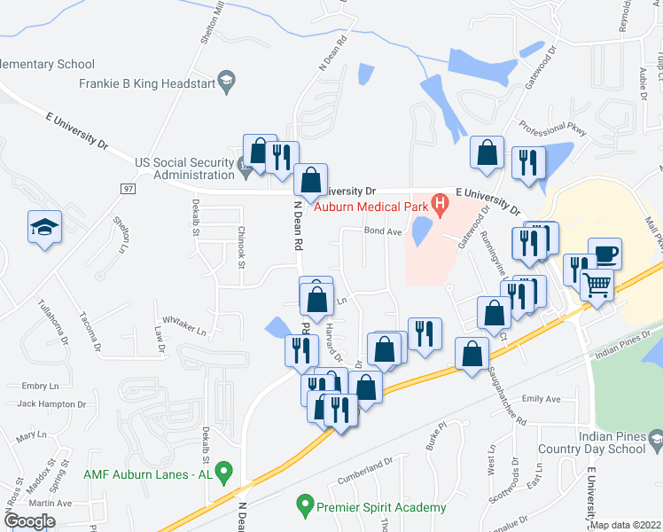 map of restaurants, bars, coffee shops, grocery stores, and more near 1129 Gentry Dr in Auburn