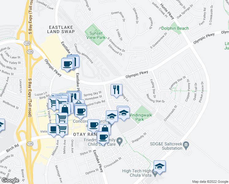 map of restaurants, bars, coffee shops, grocery stores, and more near 1504 Rose Garden Ln in Chula Vista