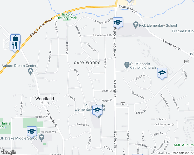 map of restaurants, bars, coffee shops, grocery stores, and more near 220 Ridgewood Court in Auburn