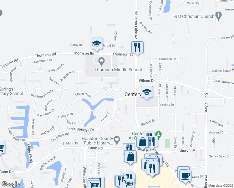 map of restaurants, bars, coffee shops, grocery stores, and more near 108 Eagle Springs Drive in Centerville