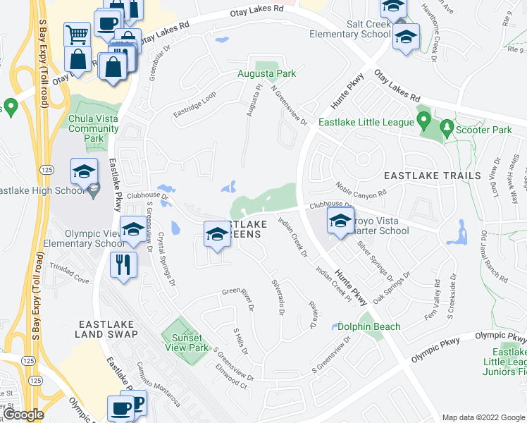 map of restaurants, bars, coffee shops, grocery stores, and more near Clubhouse Drive in Chula Vista