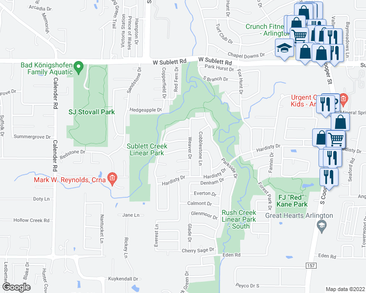map of restaurants, bars, coffee shops, grocery stores, and more near 2405 Mesa Glen Drive in Arlington