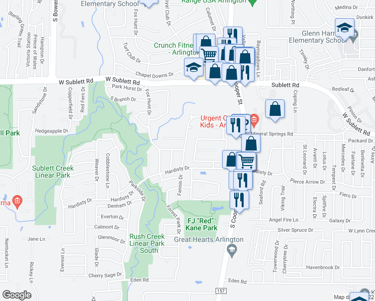 map of restaurants, bars, coffee shops, grocery stores, and more near 6301 Fannin Drive in Arlington