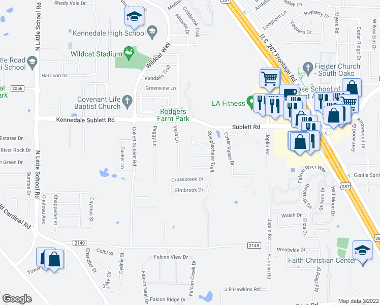 map of restaurants, bars, coffee shops, grocery stores, and more near 1253 Stonehill Court in Kennedale