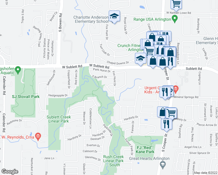 map of restaurants, bars, coffee shops, grocery stores, and more near 2208 Branchwood Drive in Arlington