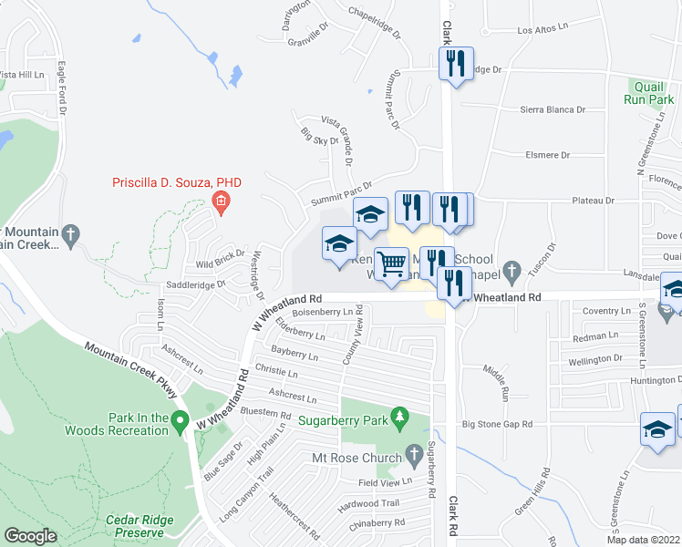 map of restaurants, bars, coffee shops, grocery stores, and more near 7101 W Wheatland Rd in Dallas