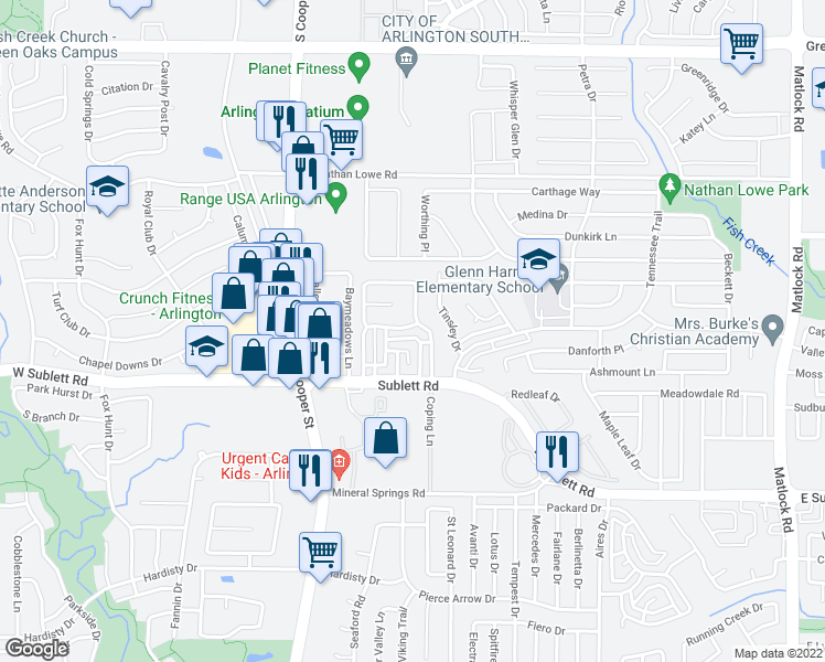 map of restaurants, bars, coffee shops, grocery stores, and more near 1100 Royalcrest Drive in Arlington