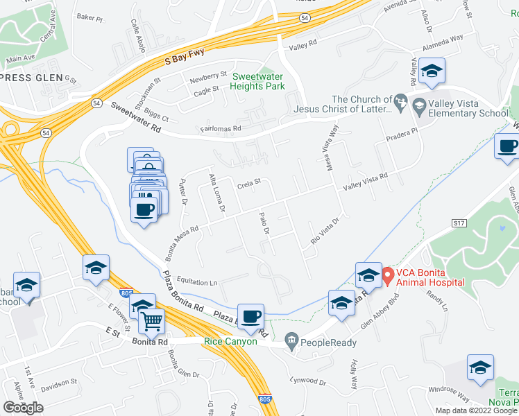 map of restaurants, bars, coffee shops, grocery stores, and more near Bonita Mesa Rd & Palo Dr in Bonita