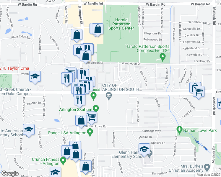 map of restaurants, bars, coffee shops, grocery stores, and more near 1040-1068 Green Oaks Boulevard in Arlington
