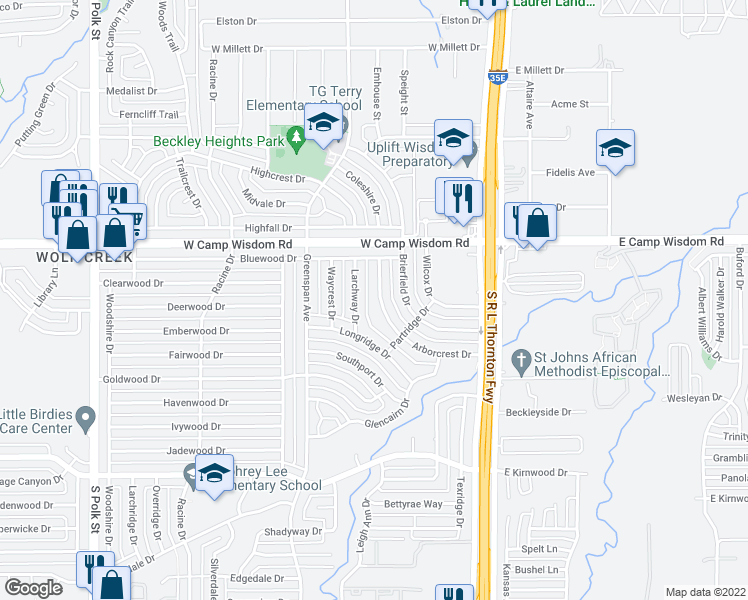 map of restaurants, bars, coffee shops, grocery stores, and more near 7145 Arborcrest Dr in Dallas