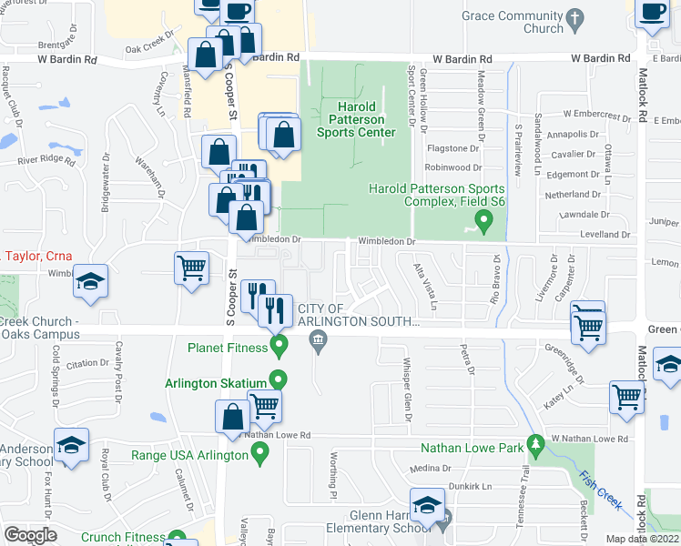 map of restaurants, bars, coffee shops, grocery stores, and more near 5221 Vista Verde Drive in Arlington