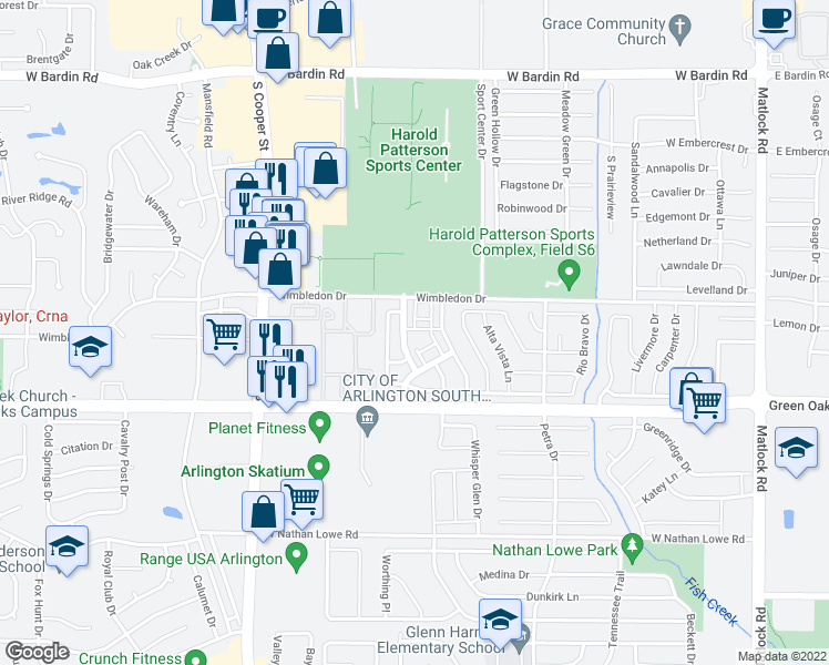 map of restaurants, bars, coffee shops, grocery stores, and more near 5223 Camino Verdes Boulevard in Arlington