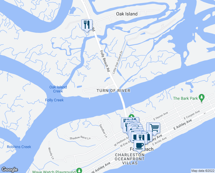 map of restaurants, bars, coffee shops, grocery stores, and more near 1006 Mariners Cay Drive in Charleston