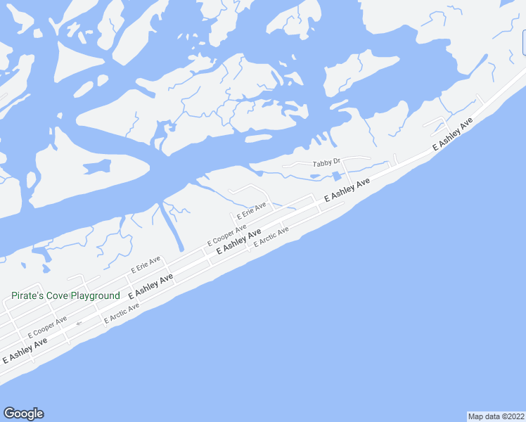 map of restaurants, bars, coffee shops, grocery stores, and more near 1016 East Cooper Avenue in Folly Beach