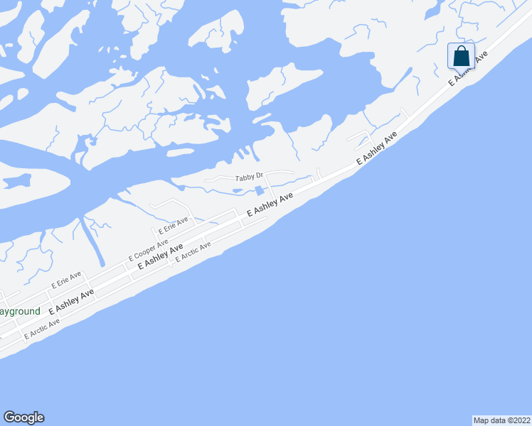 map of restaurants, bars, coffee shops, grocery stores, and more near 1214 East Arctic Avenue in Folly Beach